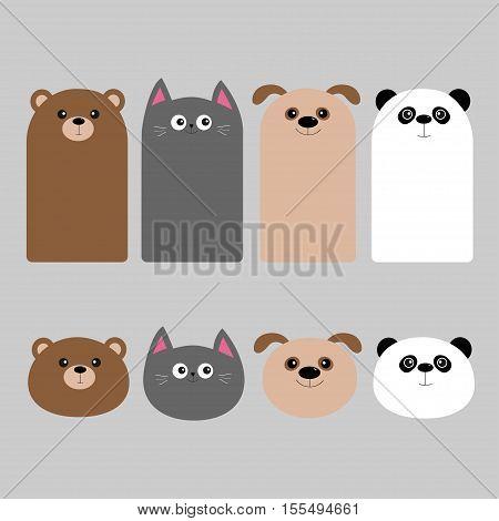 Animal head set. Cartoon kawaii baby bear cat dog panda. Bookmark sticker collection. Flat design. Gray background. Vector illustration