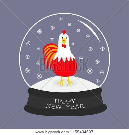 Rooster Cock bird. Crystal ball with snowflakes. 2017 Happy New Year symbol Chinese calendar. Cute cartoon funny character Big feather tail. Flat design. Violet background. Vector illustration
