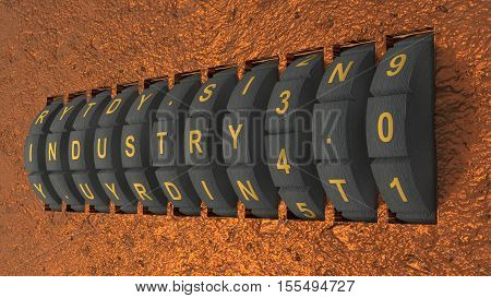 black metal circular lock embedded in a rusty wall showing the word industry switching from three to four 3D illustration
