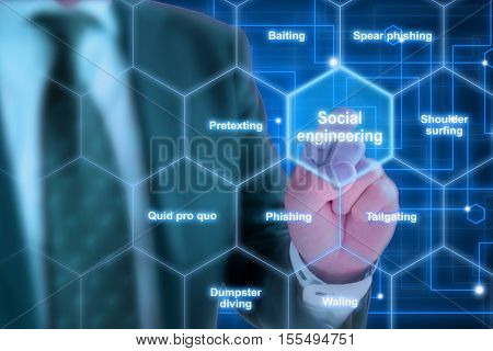 Hexagon grid with social engineering keywords like phishing and tailgating with a elite hacker in suit background poster