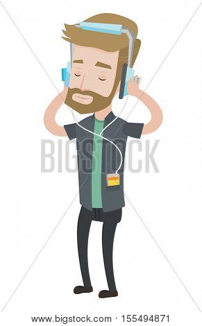 Hipster man listening to music on his smartphone. Caucasian man in headphones listening to music. Man with eyes closed enjoying music. Vector flat design illustration isolated on white background.