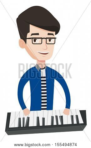 Young smiling musician playing piano. Pianist playing upright piano. Caucasian male pianist playing on synthesizer. Vector flat design illustration isolated on white background.