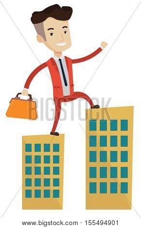 Caucasian businessman walking on the roofs of city buildings. Man walking on the roofs of skyscrapers. Businessman walking to the success. Vector flat design illustration isolated on white background.