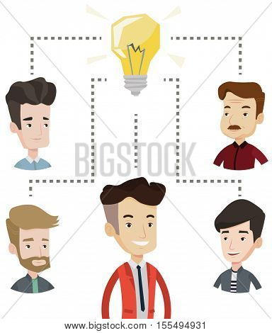 Businessmen working at business ideas. Business people discussing business idea. Group of business people connected by one idea light bulb. Vector flat design illustration isolated on white background