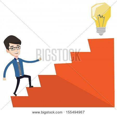 Businessman walking upstairs to the idea light bulb. Businessman running on the stairs to get light bulb on the top. Business idea concept. Vector flat design illustration isolated on white background