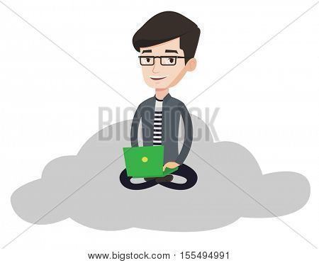 Caucasian businessman sitting on a cloud and working on his laptop. Businessman using cloud computing technology. Cloud computing concept. Vector flat design illustration isolated on white background.