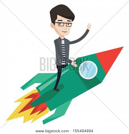Businessman flying on the business start up rocket. Caucasian businessman on business start up rocket waving. Business start up concept. Vector flat design illustration isolated on white background.