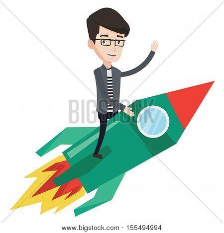 Businessman flying on the business start up rocket. Caucasian businessman on business start up rocket waving. Business start up concept. Vector flat design illustration isolated on white background.