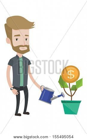 Hipster man watering money flower. Man investing in business project. Illustration of investment money in business. Investment concept. Vector flat design illustration isolated on white background.