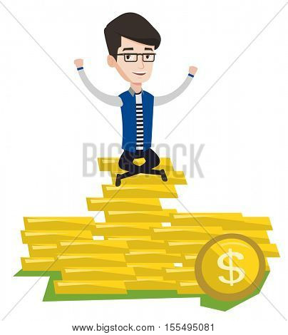 Caucasian cheerful businessman sitting on stack of golden coins. Businessman sitting on a pile of golden coins. Businessman on gold coins. Vector flat design illustration isolated on white background.