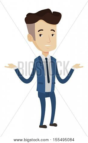 Stressed bancrupt businessman with spread arms. Depressed caucasian bancrupt businessman. Businessman unaware what to do with bankruptcy. Vector flat design illustration isolated on white background.
