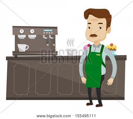 Caucasian barista sanding in front of coffee machine. Barista at coffee shop. Barista making a cup of coffee. Friendly barista at work. Vector flat design illustration isolated on white background.