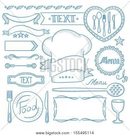 Set of vintage labels, ribbons, frames, banners, logo and advertisements for restaurants food menu board. Hand drawn vector sketch illustration on white background.