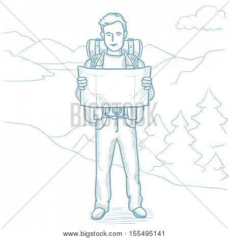Young traveler with backpack and binoculars looking at map. Man with map hiking in the mountains. Hiker searching right direction on a map. Hand drawn vector sketch illustration on white background.