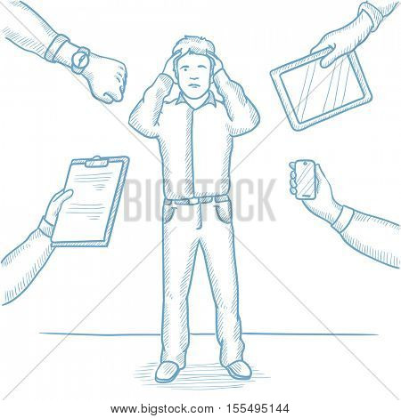 Caucasian man in despair and many hands with gadgets around him. Young man surrounded with gadgets. Man using many electronic gadgets. Hand drawn vector sketch illustration on white background.