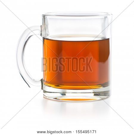 Tea in glass cup isolated on white background.