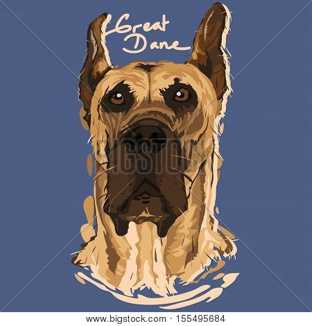 A vector illustration of Great Dane Painting Poster