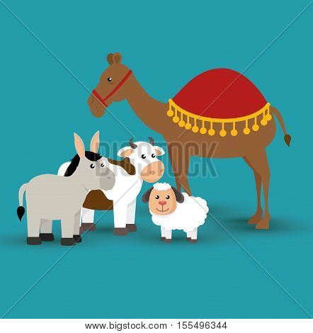 happy merry christmas manger character vector illustration design