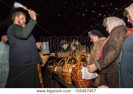 The Consecration Of Holy Water During A Night Service. Easter. Dobrush, Belarus