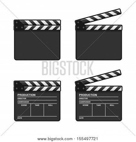 Blank Clapper Board Set on White Background. Vector illustration