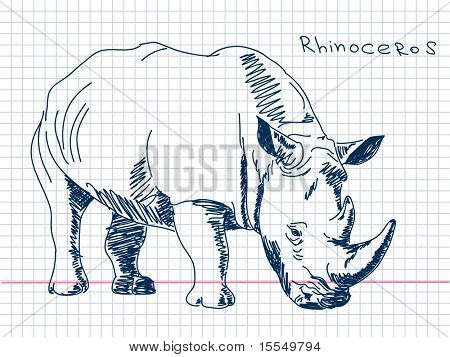 Hand drawn rhinoceros Vector. Visit my portfolio for big collection of doodles