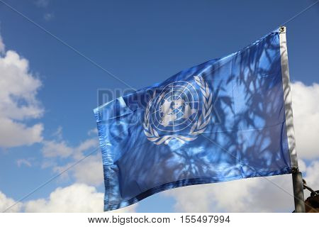 Golan Heights, Israel - October 31, 2016: United Nations flag. The United Nations is an international organization who fights for world peace.