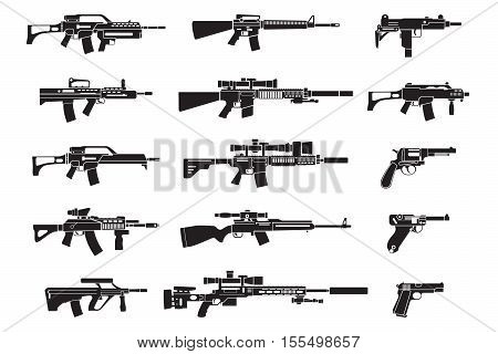 Gun icons set. Handgun rifle and pistol icons. Vector illustration