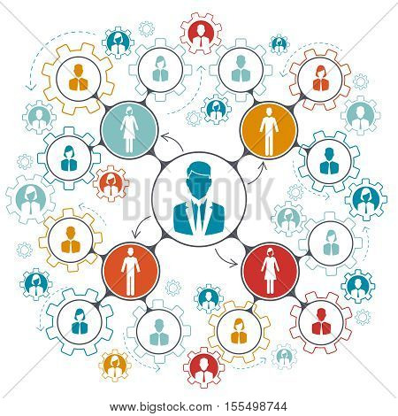 Business people team work. Managment structure hierarchy of teamwork in company. Vector illustration