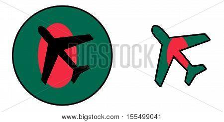 Nation Flag - Airplane Isolated - Bangladesh