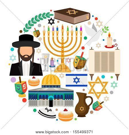 Jewish holiday symbols. Jewish hanukkah vector round label on white background