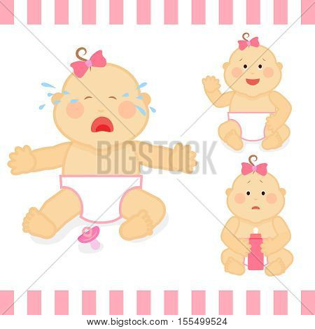 Cute cartoon small pink baby girl vector illustration. Baby toddler crying, sadness baby with bottle of milk