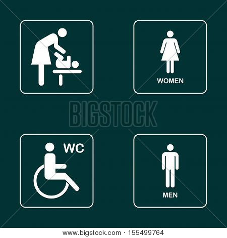 WC / Toilet door plate icon set. Men and women WC sign for restroom.