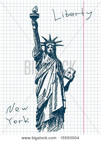 Hand drawn statue of liberty in New York. Visit my portfolio for big collection of doodles
