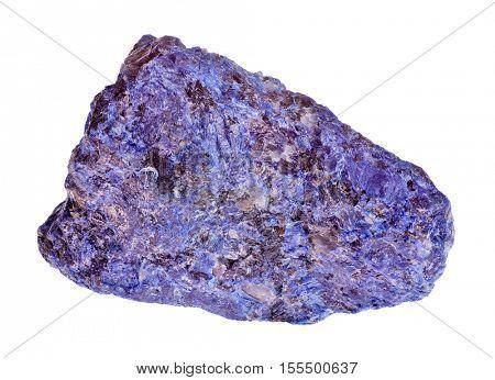 single blue stone isolated on white background