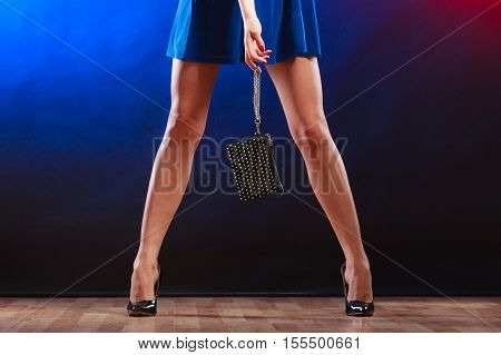 Woman In Heels Holds Handbag, Disco Club