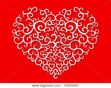 Hand drawn heart pattern on red. Visit my portfolio for big collection of doodles