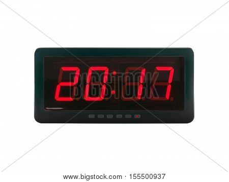 red led light illumination numbers 2017 on digital electronic alarm clock face isolated on white background,  A.D symbol for a time of celebrating the New Year