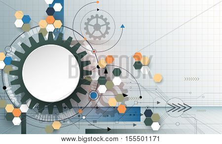 Vector illustration 3D paper circle with gear wheel hexagons and circuit board Hi-tech digital technology and engineering digital telecom technology concept. Abstract futuristic on light blue color background