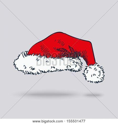 Hand drawn Santa hat isolated
