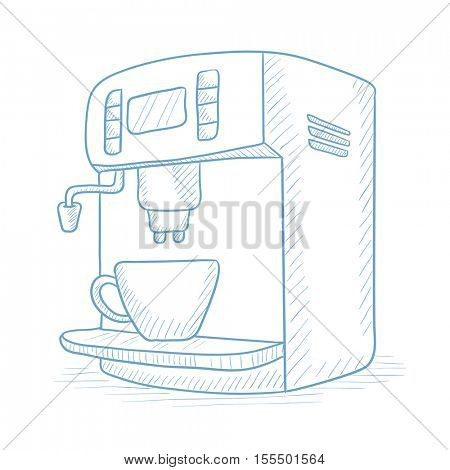 Coffee maker with cup. Coffee maker and cup hand drawn on white background. Coffee maker and cup sketch illustration. Coffee maker and cup vector illustration.