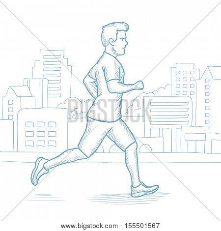 Caucasian man running in the city. Male runner jogging in the city. Sportsman running in the city street. Male athlete jogging in the city. Hand drawn vector sketch illustration on white background.