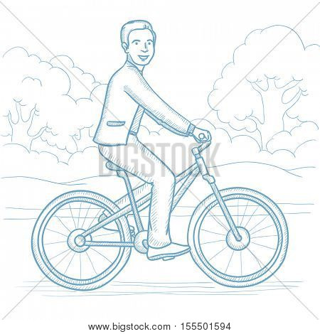 Sportive man riding a bicycle in the park. Cyclist riding bike on forest road. Caucasian man on a bike outdoors. Healthy lifestyle concept. Hand drawn vector sketch illustration on white background.