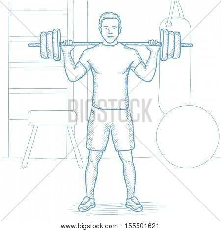 Sporty man lifting a heavy weight barbell in the gym. Strong sportsman doing exercise with barbell. Male weightlifter holding a barbell. Hand drawn vector sketch illustration on white background.