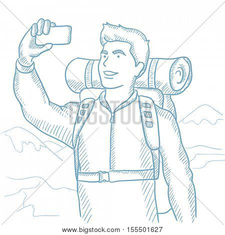 Backpacker making selfie on the background of mountains. Caucasian backpacker making selfie. Man with backpack taking photo with cellphone. Hand drawn vector sketch illustration on white background.