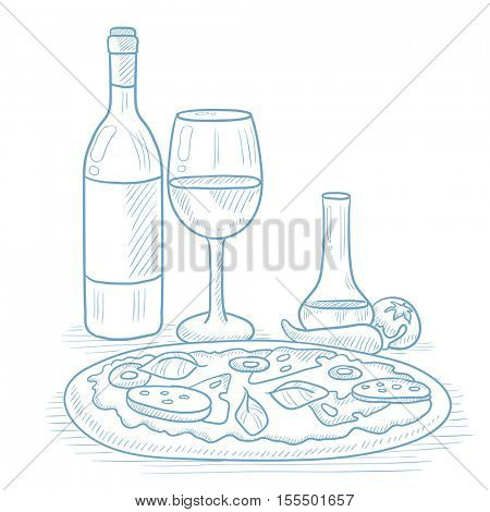 Pizza with bottle of wine and a glass. Pizza and bottle of wine hand drawn on white background. Pizza and bottle of wine sketch illustration. Pizza and bottle of wine vector illustration.