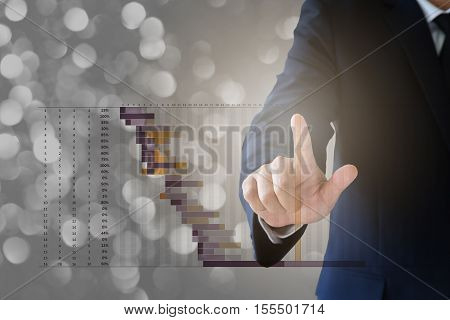 Business Concept, Businessman Working With Visual Digital Chart