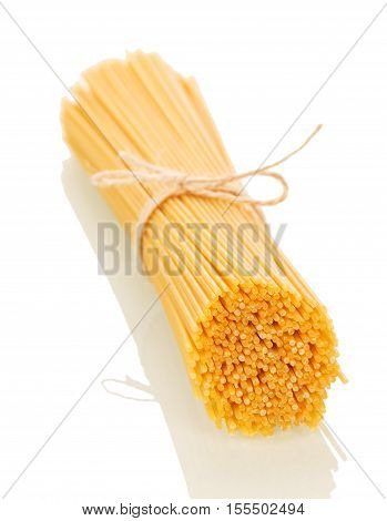 Spaghetti associated with string isolated on white background.