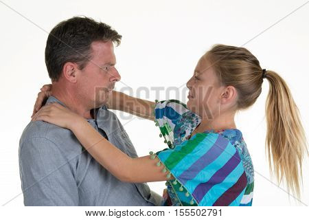Smiling Father And Daughter Happy Together Isolated