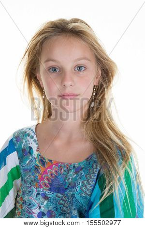 Beautiful Fair-haired Blond Girl , On White Background.