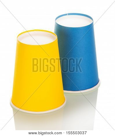 Bright disposable paper cups isolated on white background.